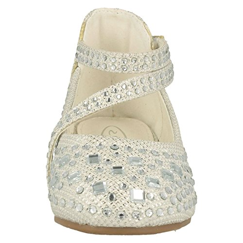 Girls Spot On Chaussures à paillettes Blanc