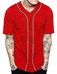 Amazon.es: camiseta rayas rojas y negras Hibote Hombre: Ropa