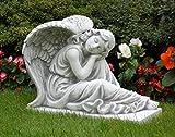 Engel sitzend (S101142) Mädchen Putte Kinder Gartenfigur Grabengel Statuen Steinguss 42 cm