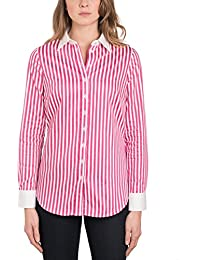 bc513127018db HAWES   CURTIS Womens White   Pink Bengal Stripe Semi Fitted Shirt - Single  Cuff