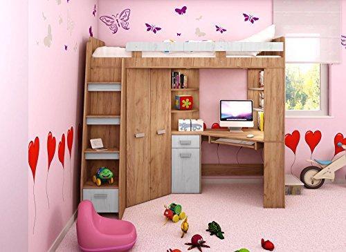 Hochbett/Etagenbett Mit Treppe Rechts Oder Links, Alles In Einem Möbel Set Für  Kinder Mit Bett, Kleiderschrank, Regal Und Schreibtisch ...