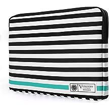 """MEMPHIS 17.3"""" Laptop Tablet Sleeve Black White Accent Stripe Pattern Design For Asus 16"""" to 17.3"""" Laptops (ROG, Zenbook Pro, TransMemphis Padded Hybrid Bagmer"""