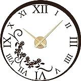 GRAZDesign 800486_GD_080 Wandtattoo Uhr mit Uhrwerk Wanduhr Wohnzimmer Römische Zahlen Ornament (57x57cm // 080 braun // Uhrwerk Gold)