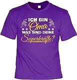 Geschenk-Set: Shirt mit Sprüche-Blechschild Thema Familie: Ich Bin Oma was sind Deine Superkräfte & Oma GmbH