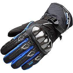 Guantes de Moto Impermeable de Invierno térmico, Guantes de Motociclista de Fibra de Carbono de Completo Dedo Puede Pantalla táctil
