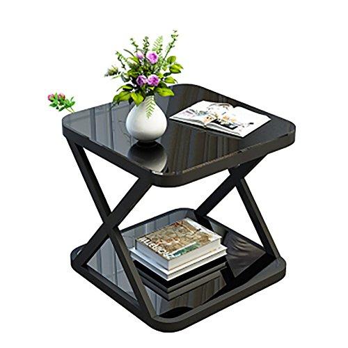 D&L Quadratische Glas Beistelltisch, X Geformt Vintage Sofatisch Schlafzimmer Nachttisch Couchtisch Moderne Einfache Lagerregal-C L50xW50xH50cm (Glas-plattform Quadratische)