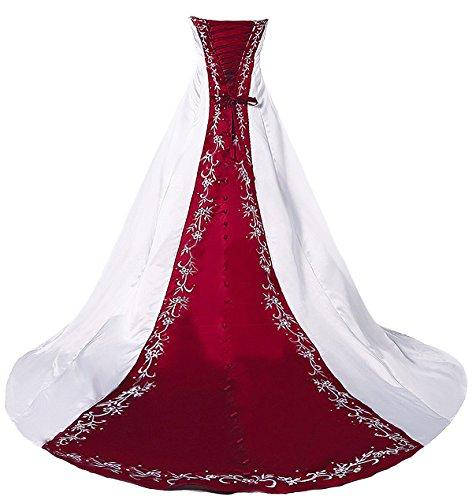 Faironly H36 trägerloses Stickerei Weiß Rot Brautkleider (XXXL)