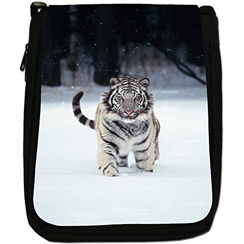 Bianco Tigri Medium Nero Borsa In Tela, taglia M White Tiger In Snow