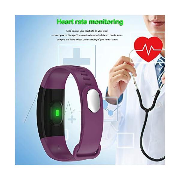 Pulsera impermeable Bluetooth 4.0fitness Tracker podómetro Monitor de ritmo cardiaco del sueño mallalah deporte reloj Smart Watch, color Negro 7