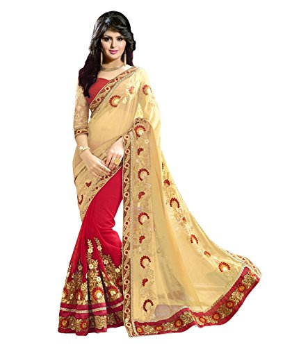 Janasya Women's Multi-Color Embroidered Georgette Border Saree (JNE1235-MULTI-SR-PATCH)  available at amazon for Rs.1149