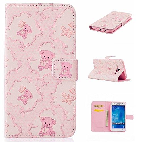 nancen Apple iPhone 5C (4,0pollici) Bookstyle Custodia Mignon stile disegno custodia cover di protezione in pelle PU portafoglio Phone Case Rose Teddy