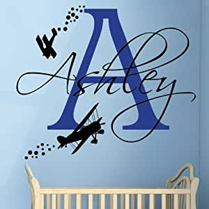Biplane with Name - Boys Bedroom Nursery Wall Sticker (Small) by Wondrous Wall Art