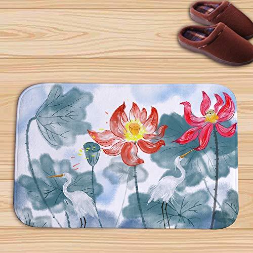 WJ Lotus Teich Türmatte Aquarell Bodenmatte Bad Matte Küche Matte Saugfähig Pad, Multicolor 6, 45 * 75cm -