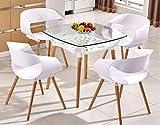 MOOMDDY Moderne Minimalistische Balkon Tisch Und Stühle Glas Quadratische Tabelle Platz Massivholz Esstisch Und Stuhl Kombination, Coffee-Shop,Combinationb