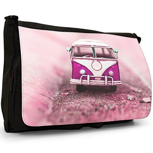 Old Camper Van–Borsa Tracolla Tela Nera Grande Scuola/Borsa Per Laptop Old Pink Camper Van