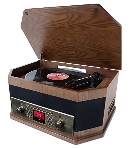 ION Audio Octave LP 8-in-1 Retro Vintage Music Centre with Bluetooth Streaming Vinyl Record Player Turntable CD Cassette USB Playback/Record Auxiliary Input DAB+/FM Radio and Built-In Speakers