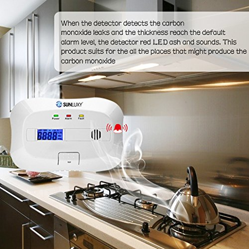 SUNLUXY CO Alarm CO Melder Kohlenmonoxid-Detektor & Feueralarm mit Optischer Sensor batteriebetrieben weiß -