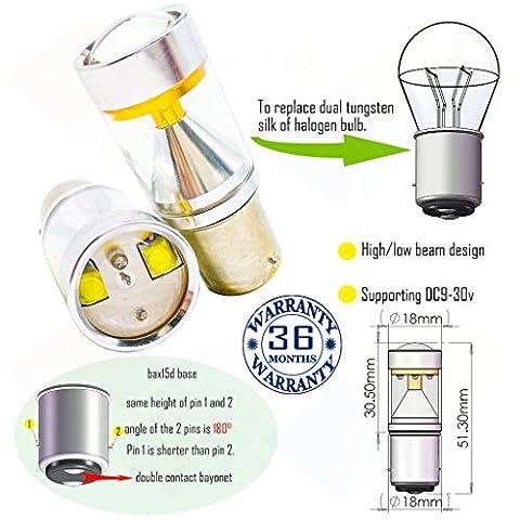 Wiseshine bax15d led ampoule DC9-30v 3 ans d'assurance de la qualité (paquet de 2) Poutre haute/basse bax15d 6 led HP vert