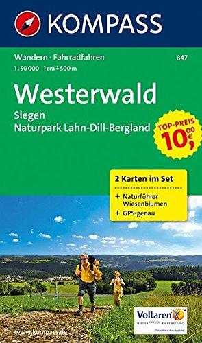 Westerwald - Siegen - Naturpark Lahn-Dill-Bergland: Wanderkarten-Set mit Naturführer in der Schutzhülle. GPS-genau. 1:50000: 2-delige Wandelkaart 1:50 000 (KOMPASS-Wanderkarten, Band 847)