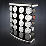 Olde Thompson Stainless Steel 20 Jar Spice Rack With Spices 20 Spice Jars Filled & Sealed for Freshness Plus Rack