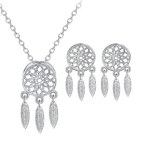 JUNGEN® Collar y Pendientes Conjunto de joyas con Colgante de Atrapasueños Elegantes accesorios de joyería para niñas