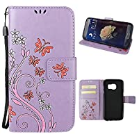Galaxy S7 Edge Case, Samsung Galaxy S7 Edge Wallet Case, Rosa Schleife PU Leather Butterfly Flower Embossed Floral Flip Magnetic Closure Phone Case Protective Shell Case Cover for for Samsung Galaxy S7 Edge G9350 (5.5