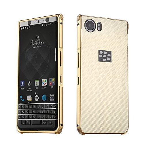 UKDANDANWEI BlackBerry Keyone Hülle,Ultra Dünn Carbon-Faser Metall Zurück Case Cover mit Hard Bumper Schutz[Kratzfeste Stoßdämpfende] Überzug Aluminium Handy Tasche Schale für BlackBerry Keyone - Gold -