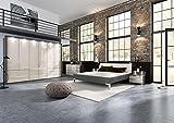 lifestyle4living Schlafzimmer in Havanna-Dekor/Glas Magnolie, Kleiderschrank B: 300 cm, Bett mit Kopftel 180 x 200 cm, 2 Nachtschränken B:je 60 cm