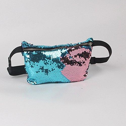 Nibesser Damen Gürteltasche Doppelte Farbe Pailletten Bauchtasche Geldbeutel Hüfttasche mit Reissverschluss für Sport und Outdoor Aktivitäten (Rot+Silber) Blau+Rosa