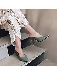 Qingchunhuangtang@ Square spesso con ciabatte sandali High-Heeled scarpe e sandali ciabattine Lazy Baotou,Thirty-Four,verde