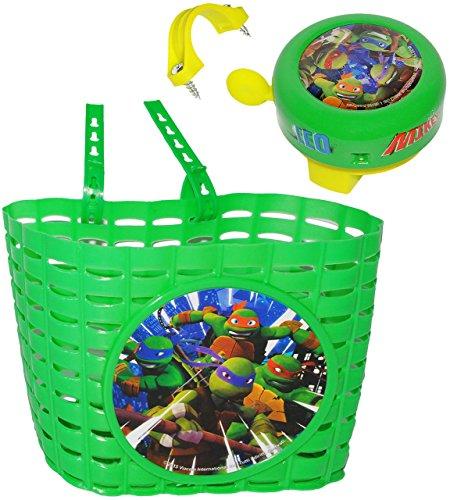 alles-meine.de GmbH 2 TLG. Set _ Fahrradkorb & Fahrradklingel -  Teenage Mutant Ninja Turtles  - Korb mit Befestigung für Lenker vorne - Fahrrad Kinder - Jungen - universal auc.. (Turtle Ninja Korb)