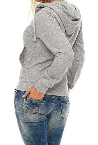 Gennadi Hoppe Damen Trainingsjacke Sweatjacke Uni Hoody Mädchen Zip Kapuzenpulli Hoodies Sweatshirt Hellgrau