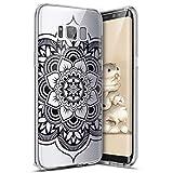 Galaxy S8 Hülle,Surakey Bunte Kunst Muster Transparent TPU Silikon Handy Hülle Case Tasche Crystal Case Durchsichtig Schutzhülle Für Samsung Galaxy S8,Schwarze Henna Mandala