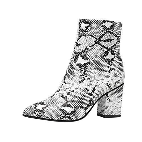 Serria® Mode Frauen Spitzschuh hochhackigen Snake Print Reißverschluss Schuhe Größe Boot