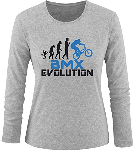 EZYshirt® BMX Evolution Damen Longsleeve Grau/Schwarz/Blau
