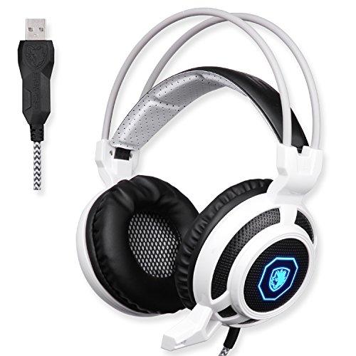 SADES-SA905-USB-PC-Gaming-Headset-Auriculares-Gaming-con-micrfono-Mild-vibracin-y-Spot-LED-de-luz-Blanco-y-Negro