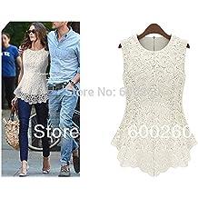 frixie (TM) nuevas mujeres de encaje blanco y Plus Size ganchillo encaje Tops mujeres blusa Renda sin mangas camisas, Blanco, mediano