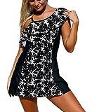 Bestfort Badekleid Damen Bikini Set Beach Tankini Frauen Rückenfrei Badeanzugkleid One Shoulder mit Bügel Push up Bademode Sommer (XX-Large, Schwarz 2)
