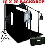EPhoto 3 Softbox Hair Light Boom Stand Photo Video Lighting With Large 10 X 20 Black Muslin Background Support Stands Kit Case H604SB1020B