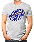 OM3® - Patriots-Football - T-Shirt | Herren | American Football Shirt | Super Bowl 53 LIII | NFL | M, Grau Meliert