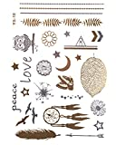 GOLD Tattoo, Flash Tattoos, Einmaltattoos, Traumfänger, Modeschmuck, Eule, Feder, LOVE, Stern, YS-18 -
