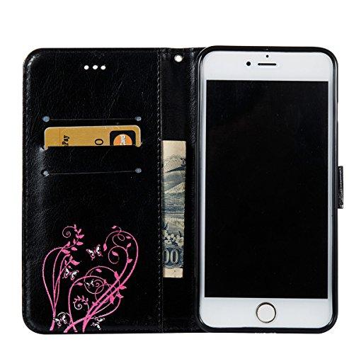 Coque iPhone 6s, Étui en cuir iPhone 6, Lifetrut [Papillons en relief] Design Flip Folio Cuir Housse de Portefeuille pour iPhone 6S 6 [Or] E201-Noir