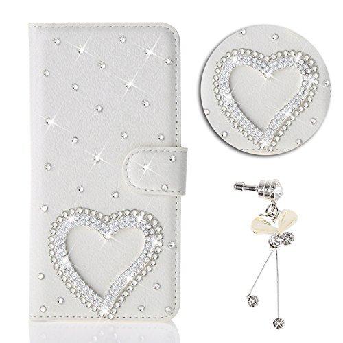 Preisvergleich Produktbild HongHushop 3D Bling Strass Glitter PU Leder Handyhülle für Samsung Galaxy A10 Spiegel Diamant Schnalle Hülle [Kartenslots] [Magnetverschluss] Schutzhülle für Samsung Galaxy A10 - Liebe