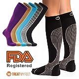 Calze a compressione per uomo e donna Gambaletto calze a compressione, alleviare il dolore al polpaccio, gambe e piedi–graduato per aumentare la circolazione e ridurre le edema gonfiore, FDA, infermiere e runner raccomandata–S, M, L e XL