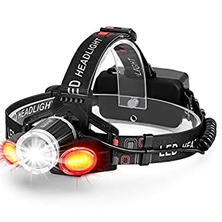 Akale Rechargeable LED Headlamp,Super Bright 6000LM Head Torch, 5 Modes, Zoomable Headlight,White Light Red Light Headlamps,Suitable for Cycling Dog Walking, Camping, Hiking, Fishing, Night Reading