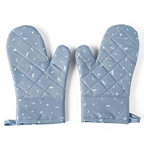 H-ONG Cotton Oven Glove with Silicone Heat Resistant Oven Mitts Thickened Insulated Microwave Oven Gloves Non-Slip Long Kitchen Mitts for BBQ Cooking,Baking Grilling Microwave (Blue) -