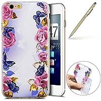 Herbests Handy Tasche für iPhone 6S 4.7 Silikon Hülle Durchsichtige Schutzhülle Crystal Clear Transparent Ultra Dünn Handyhülle Silikonhülle Kristall Klar TPU Bumper,Schmetterling Rose Blumen