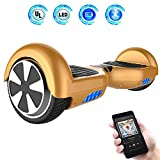 Hoverboards 6.5' Balance Board Patinete Eléctrico Scooter Talla LED 350W*2 (Gold, 6.5)