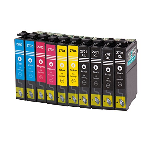 Multipack - 10 XL cartucce d'inchiostro compatibili con Epson T2701-04 con CHIP per WF - WF DWF 3620-3620 WF WF - WF DTWF 3640-7110 -7610 DWF DTW WF WF - 7620 DTW