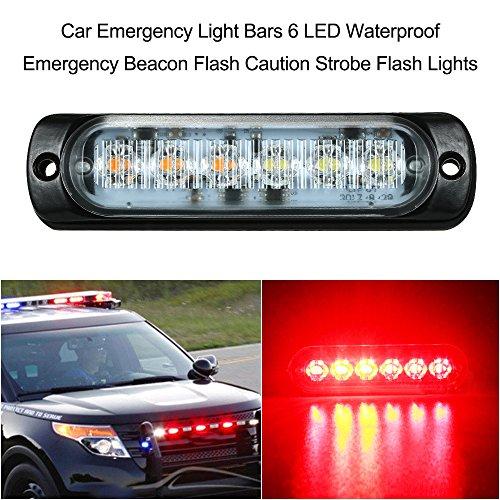 KKmoon Auto Notfall Licht Bars 6 LED Wasserdichte Notfall Leuchtfeuer Flash Vorsicht Strobe Light Bar Auto SUV Pickup Truck Van Licht (Strobe Light Pickup)
